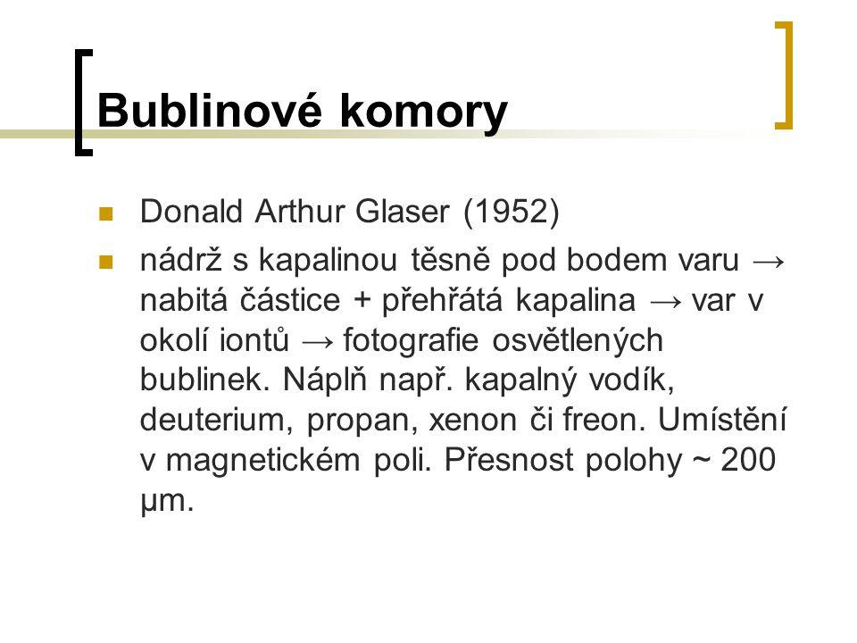 Bublinové komory Donald Arthur Glaser (1952) nádrž s kapalinou těsně pod bodem varu → nabitá částice + přehřátá kapalina → var v okolí iontů → fotogra