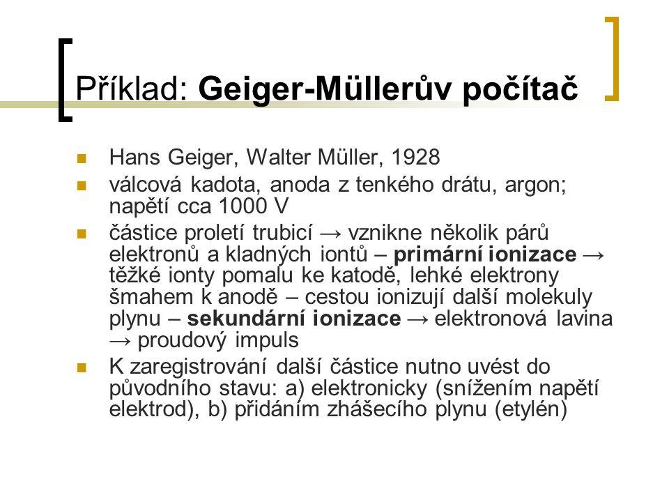 Hans Geiger, Walter Müller, 1928 válcová kadota, anoda z tenkého drátu, argon; napětí cca 1000 V částice proletí trubicí → vznikne několik párů elektr