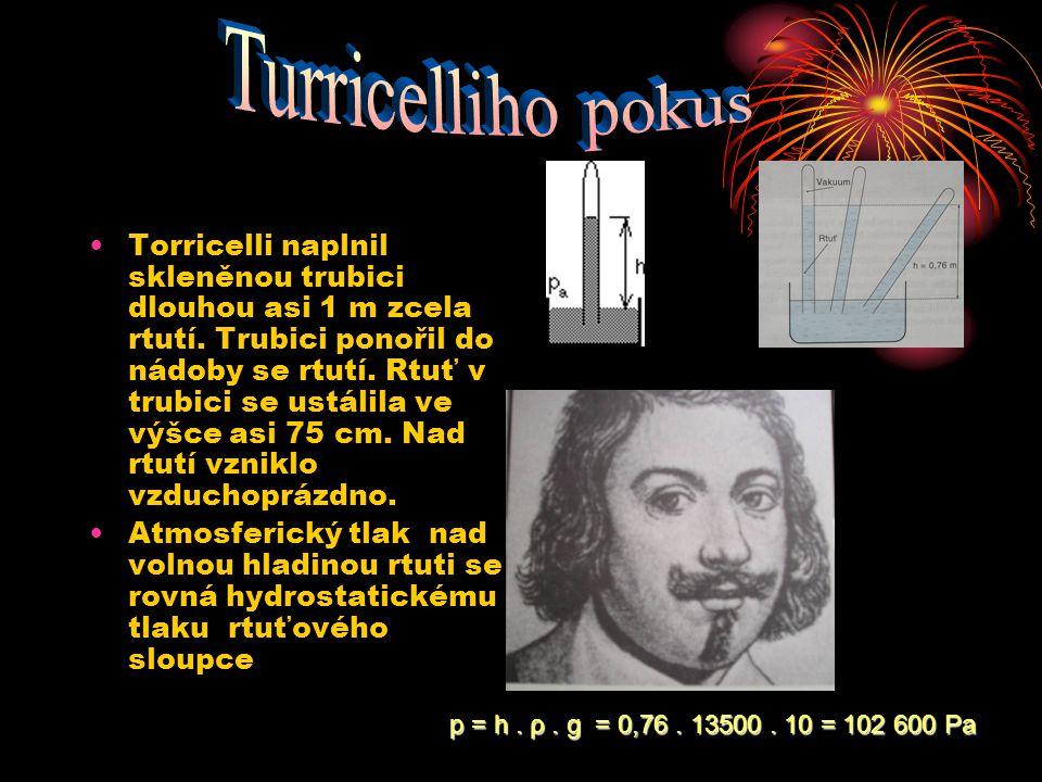 Torricelli naplnil skleněnou trubici dlouhou asi 1 m zcela rtutí. Trubici ponořil do nádoby se rtutí. Rtuť v trubici se ustálila ve výšce asi 75 cm. N