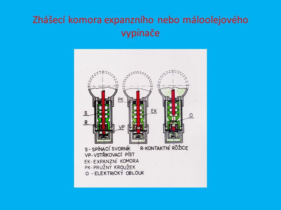Zhášecí komora expanzního nebo máloolejového vypínače