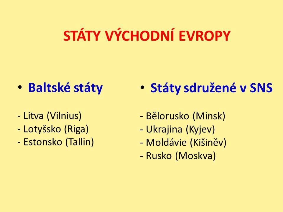 Zakavkazské státy - Arménie (Jerevan) - Gruzie (Tbilisi) - Ázerbajdžán (Baku ) Středoasijské státy - Uzbekistán (Taškent) - Kazachstán (Alma-Ata) - Kyrgyzstán (Biškek) - Tádžikistán (Dušanbe) - Turkmenistán(Ašchabad ) STÁTY ZÁPADNÍ A STŘEDNÍ ASIE