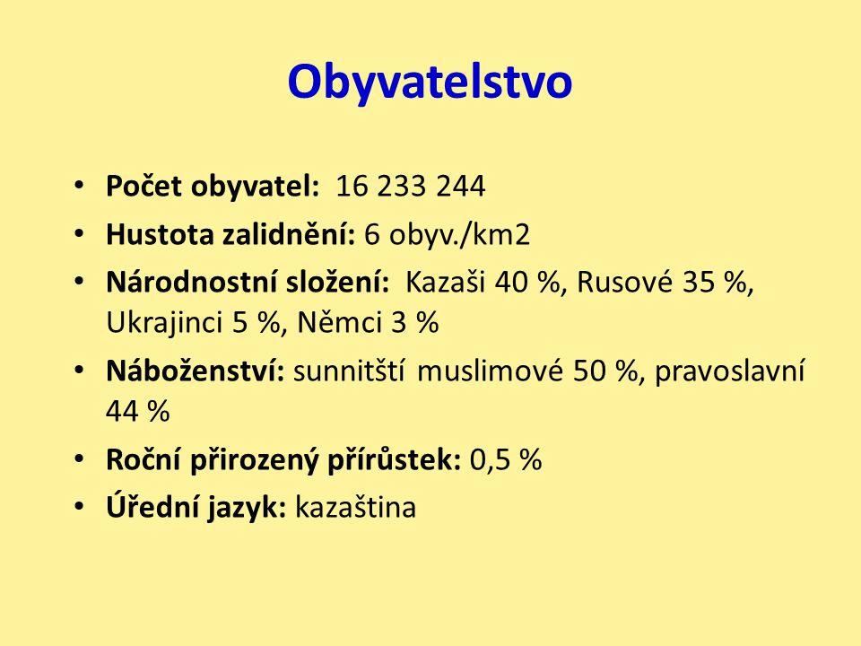 Obyvatelstvo Počet obyvatel: 16 233 244 Hustota zalidnění: 6 obyv./km2 Národnostní složení: Kazaši 40 %, Rusové 35 %, Ukrajinci 5 %, Němci 3 % Nábožen
