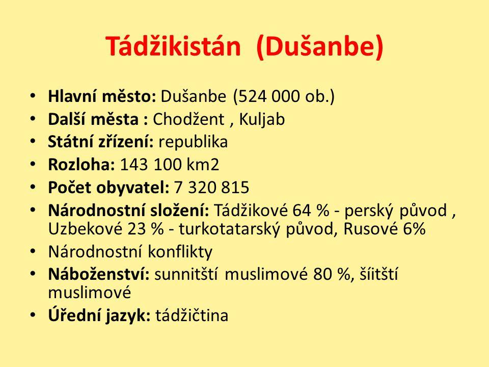 Tádžikistán (Dušanbe) Hlavní město: Dušanbe (524 000 ob.) Další města : Chodžent, Kuljab Státní zřízení: republika Rozloha: 143 100 km2 Počet obyvatel
