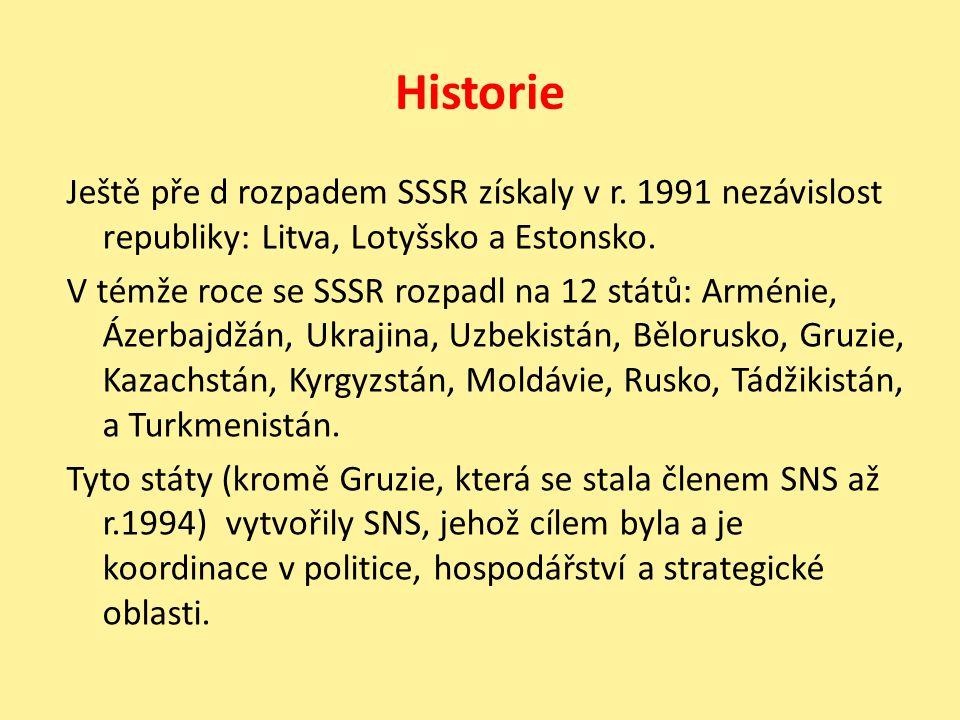 Historie Ještě pře d rozpadem SSSR získaly v r. 1991 nezávislost republiky: Litva, Lotyšsko a Estonsko. V témže roce se SSSR rozpadl na 12 států: Armé