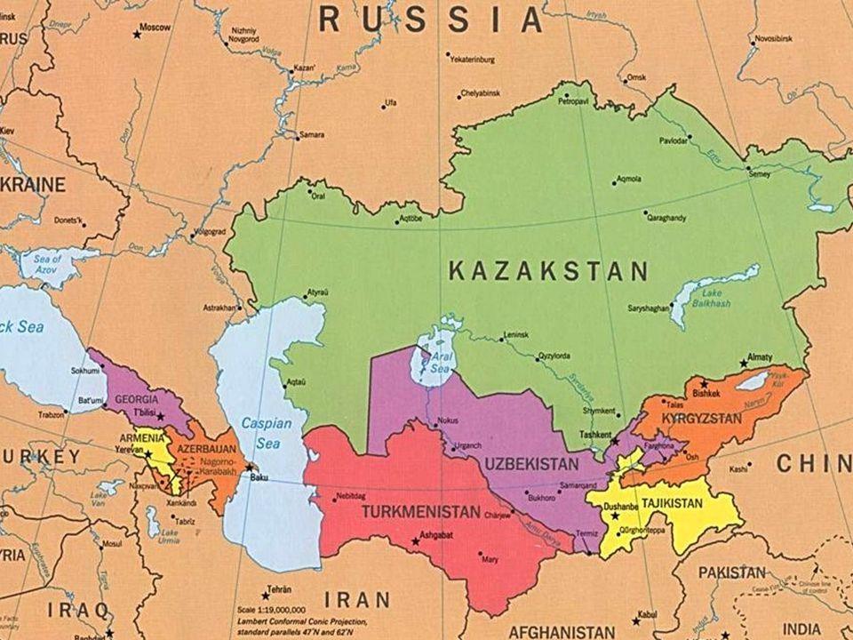 Přírodní poměry Reliéf: nejvyšší bod - Khan Tangiri Shyngy (6 995 m n.m.), nejnižší bod - Karagijská proláklina (-132 m) Nížiny: sev.