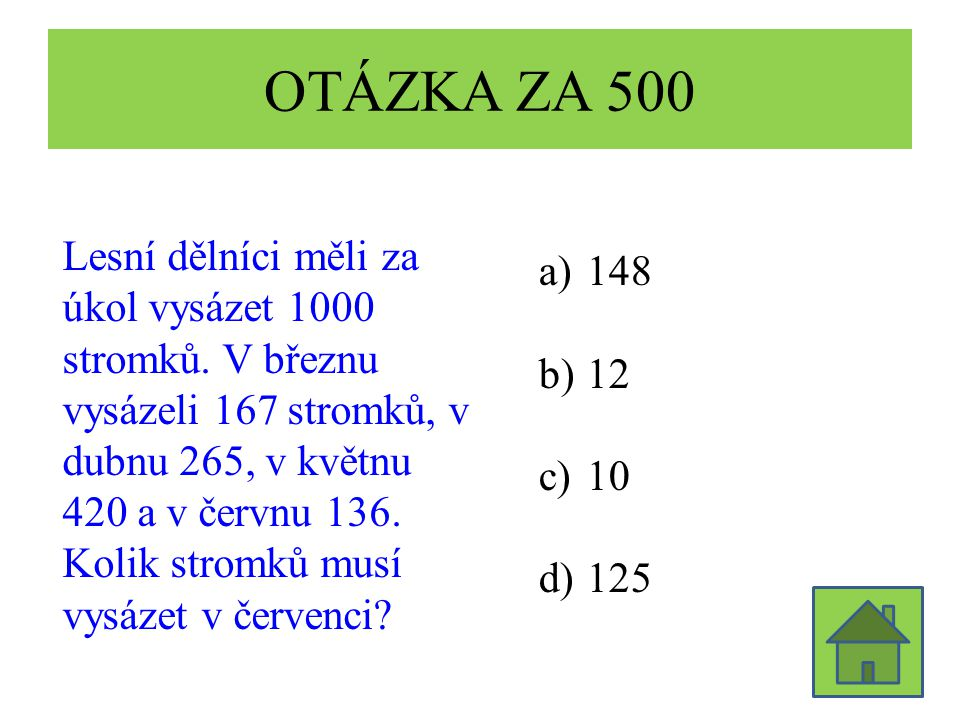 OTÁZKA ZA 500 Lesní dělníci měli za úkol vysázet 1000 stromků. V březnu vysázeli 167 stromků, v dubnu 265, v květnu 420 a v červnu 136. Kolik stromků
