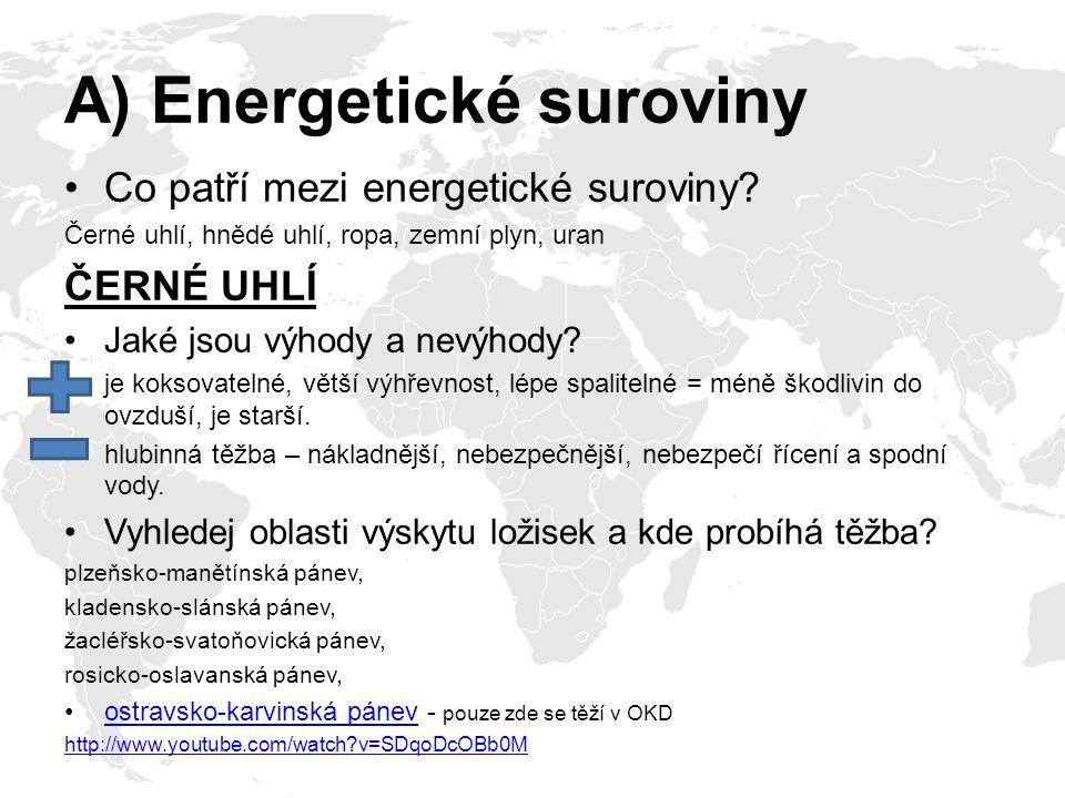 A) Energetické suroviny Co patří mezi energetické suroviny? Černé uhlí, hnědé uhlí, ropa, zemní plyn, uran ČERNÉ UHLÍ Jaké jsou výhody a nevýhody? je