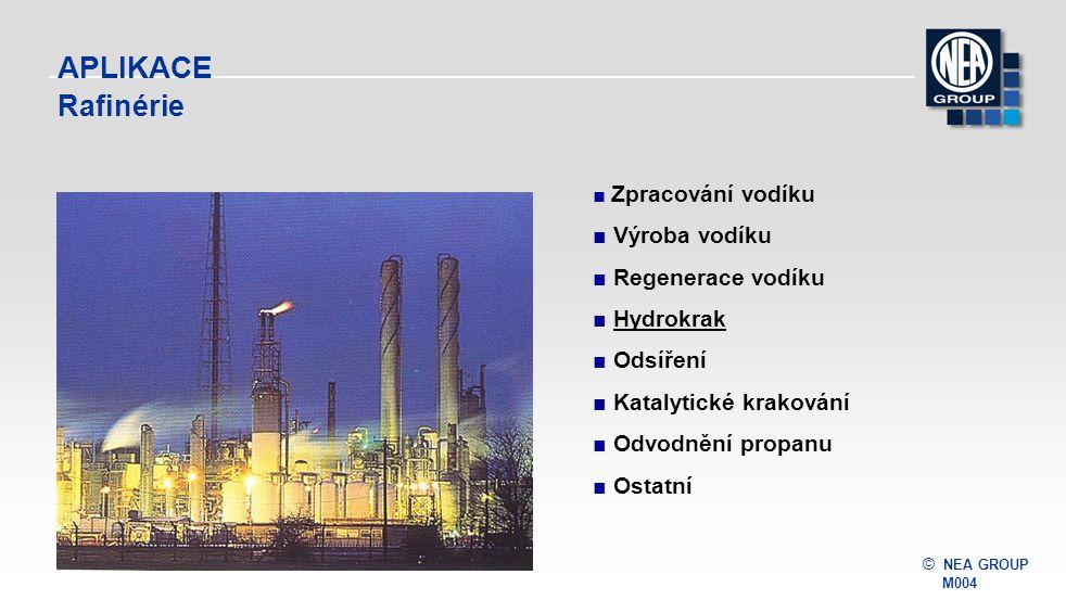 © NEA GROUP M004 APLIKACE Rafinérie ■ Zpracování vodíku ■ Výroba vodíku ■ Regenerace vodíku ■ HydrokrakHydrokrak ■ Odsíření ■ Katalytické krakování ■ Odvodnění propanu ■ Ostatní