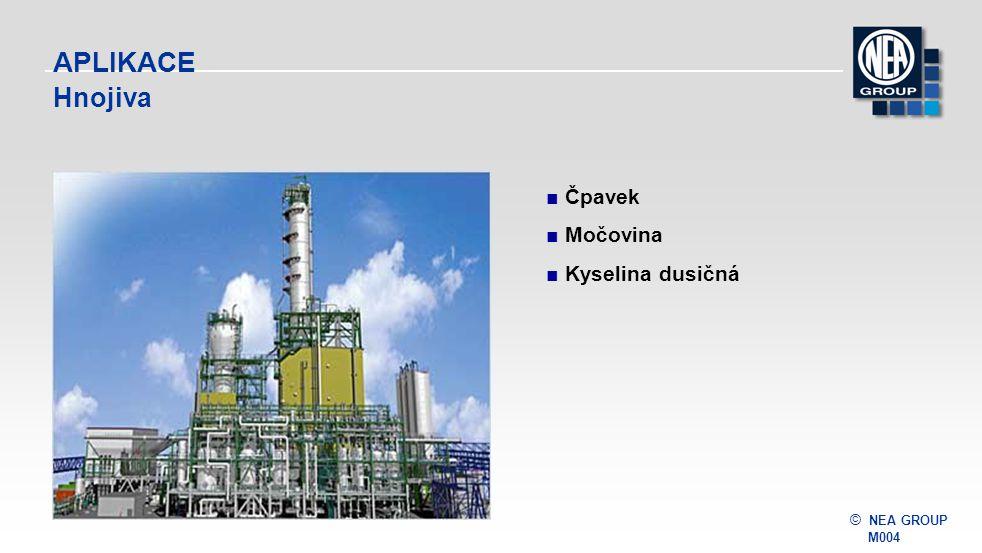 © NEA GROUP M004 APLIKACE Průmyslové plyny ■Peumatické třídění ■ Proces Linde a nízkoteplotní rektifikaceLinde a nízkoteplotní rektifikace ■ PSAPSA ■Papírny ■Ostatní průmyslové plyny