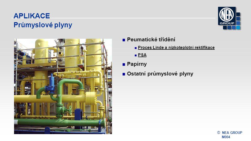 © NEA GROUP M004 APLIKACE Průmyslové plyny ■Peumatické třídění ■ Proces Linde a nízkoteplotní rektifikaceLinde a nízkoteplotní rektifikace ■ PSAPSA ■P