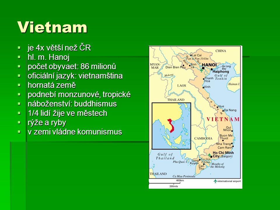 Vietnam  je 4x větší než ČR  hl. m. Hanoj  počet obyvaet: 86 milionů  oficiální jazyk: vietnamština  hornatá země  podnebí monzunové, tropické 