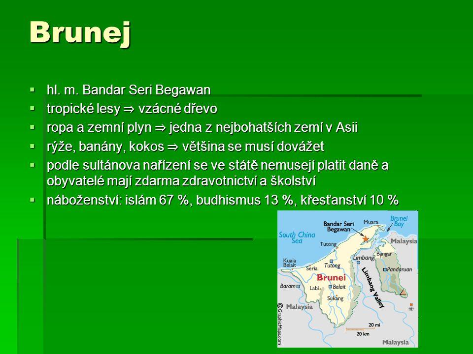 Brunej  hl. m. Bandar Seri Begawan  tropické lesy ⇒ vzácné dřevo  ropa a zemní plyn ⇒ jedna z nejbohatších zemí v Asii  rýže, banány, kokos ⇒ větš