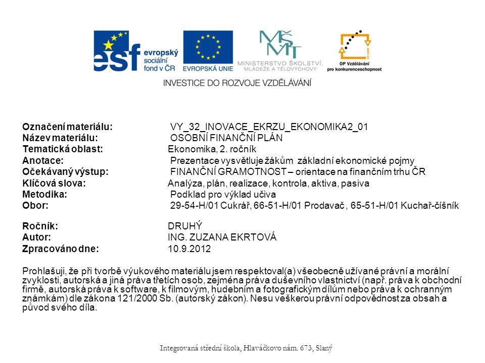 Označení materiálu: VY_32_INOVACE_EKRZU_EKONOMIKA2_01 Název materiálu: OSOBNÍ FINANČNÍ PLÁN Tematická oblast:Ekonomika, 2.