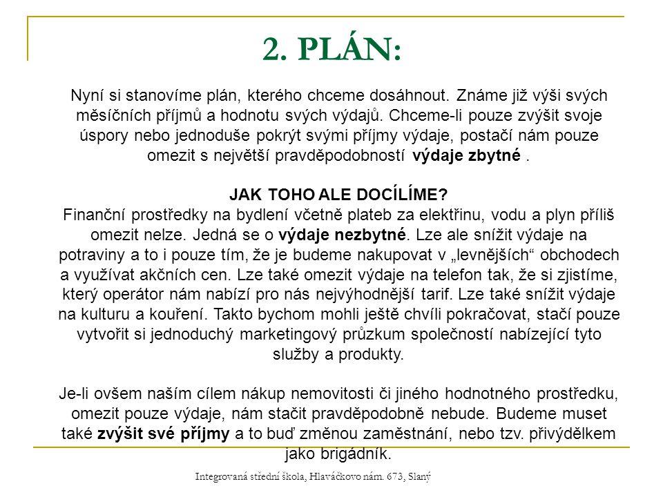2. PLÁN: Nyní si stanovíme plán, kterého chceme dosáhnout.