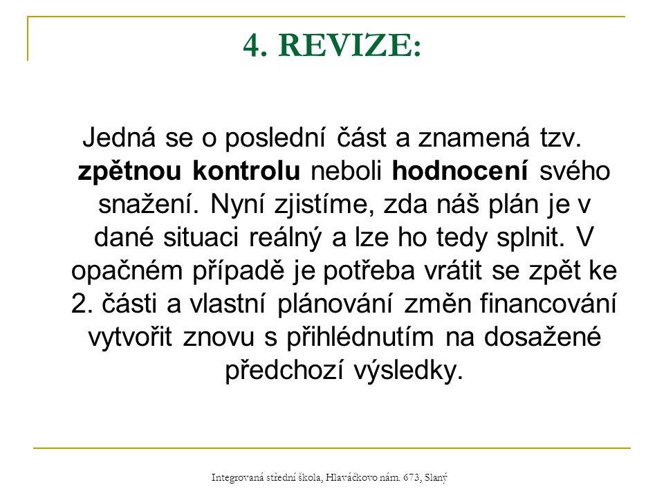 4. REVIZE: Jedná se o poslední část a znamená tzv.