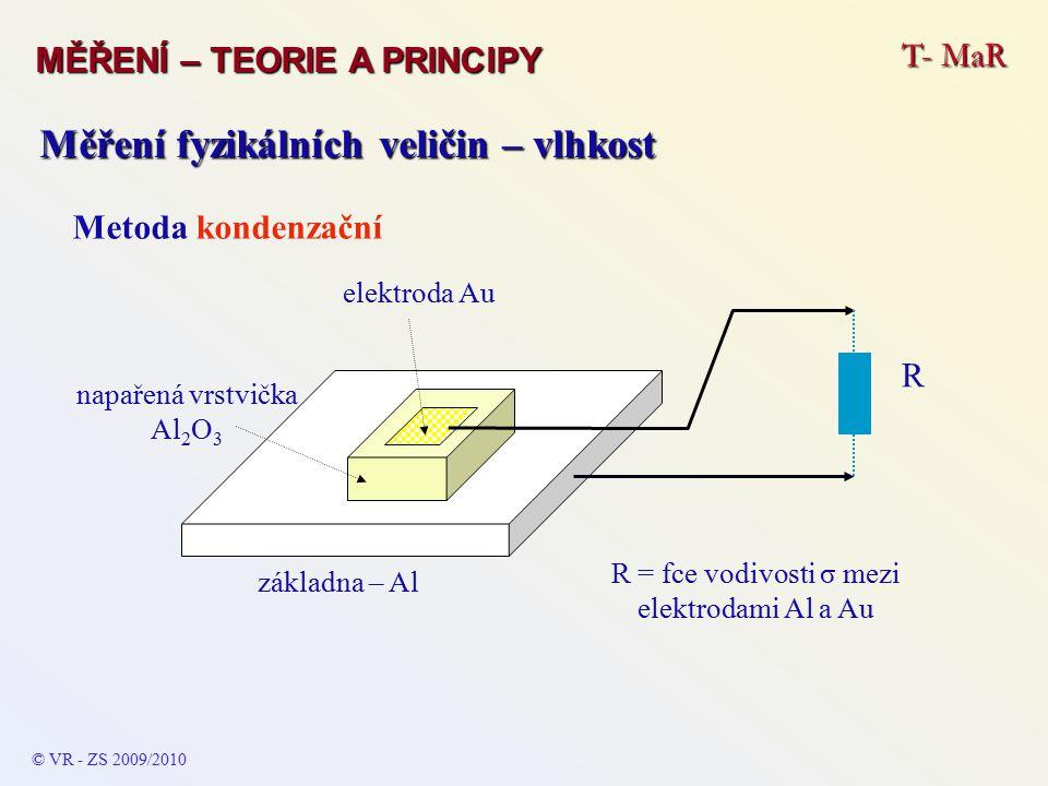T- MaR MĚŘENÍ – TEORIE A PRINCIPY © VR - ZS 2009/2010 Měření fyzikálních veličin – vlhkost Metoda kondenzační základna – Al elektroda Au napařená vrstvička Al 2 O 3 R = fce vodivosti σ mezi elektrodami Al a Au R