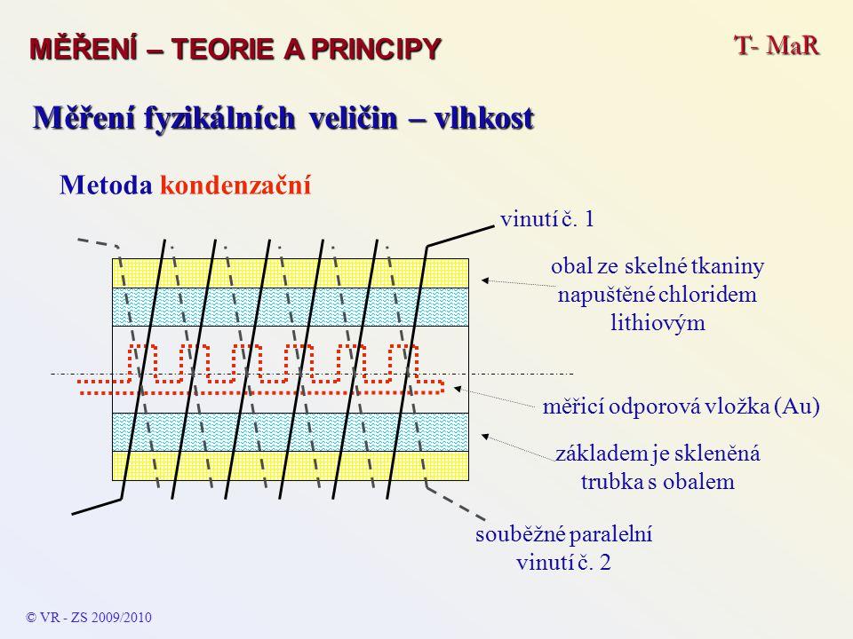 T- MaR MĚŘENÍ – TEORIE A PRINCIPY © VR - ZS 2009/2010 Měření fyzikálních veličin – vlhkost Metoda kondenzační vinutí č.