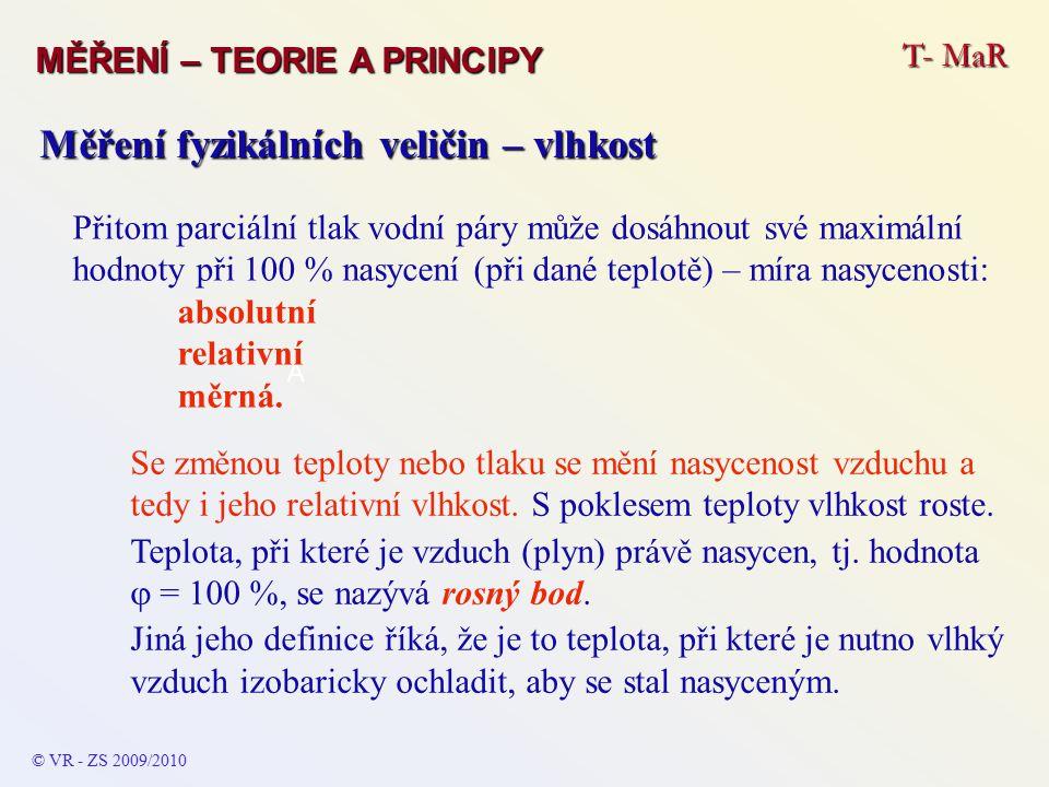 T- MaR MĚŘENÍ – TEORIE A PRINCIPY © VR - ZS 2009/2010 A Měření fyzikálních veličin – vlhkost Metoda hygrometrická