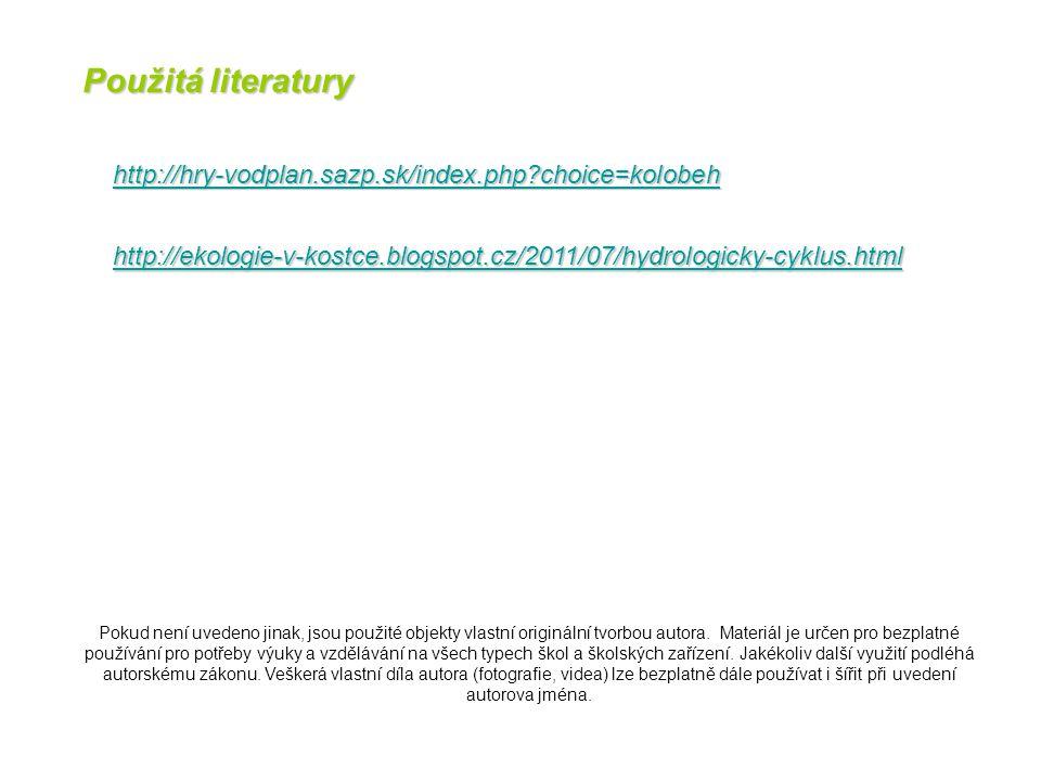 http://hry-vodplan.sazp.sk/index.php?choice=kolobeh http://ekologie-v-kostce.blogspot.cz/2011/07/hydrologicky-cyklus.html Pokud není uvedeno jinak, js
