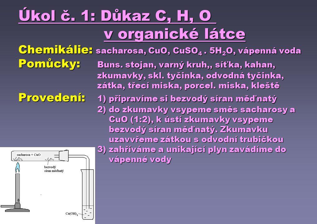 Úkol č. 1: Důkaz C, H, O v organické látce Chemikálie: sacharosa, CuO, CuSO 4. 5H 2 O, vápenná voda Pomůcky: Buns. stojan, varný kruh,, síťka, kahan,