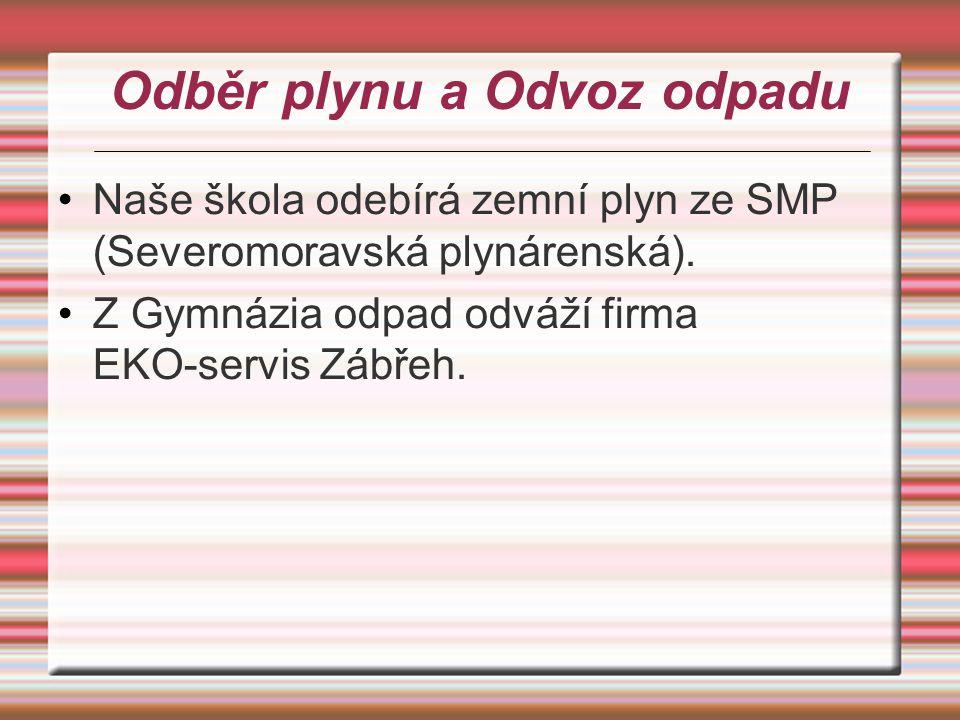 Odběr plynu a Odvoz odpadu Naše škola odebírá zemní plyn ze SMP (Severomoravská plynárenská). Z Gymnázia odpad odváží firma EKO-servis Zábřeh.