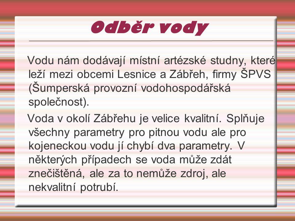 Odběr vody Vodu nám dodávají místní artézské studny, které leží mezi obcemi Lesnice a Zábřeh, firmy ŠPVS (Šumperská provozní vodohospodářská společnost).