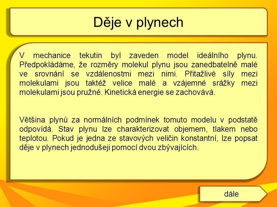 V mechanice tekutin byl zaveden model ideálního plynu. Předpokládáme, že rozměry molekul plynu jsou zanedbatelně malé ve srovnání se vzdálenostmi mezi