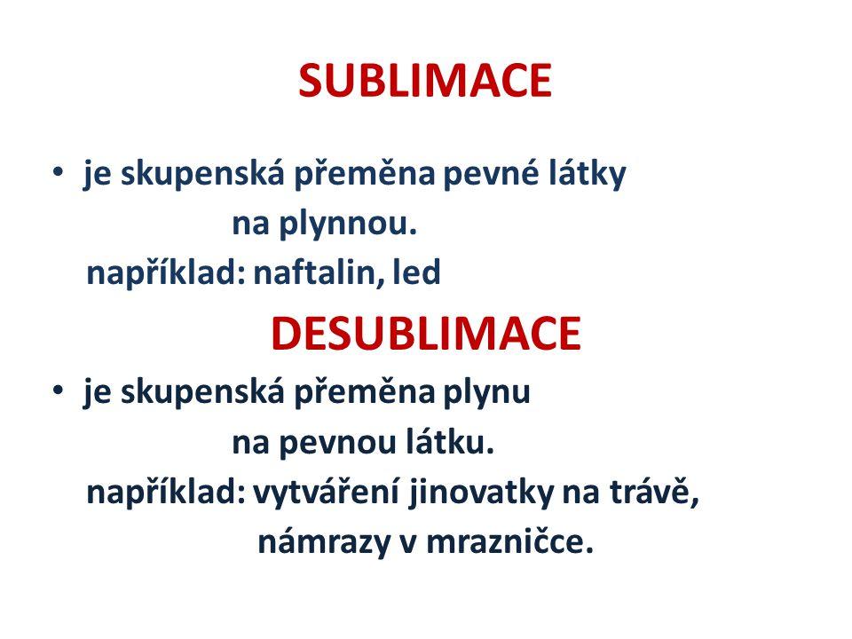 SUBLIMACE je skupenská přeměna pevné látky na plynnou.