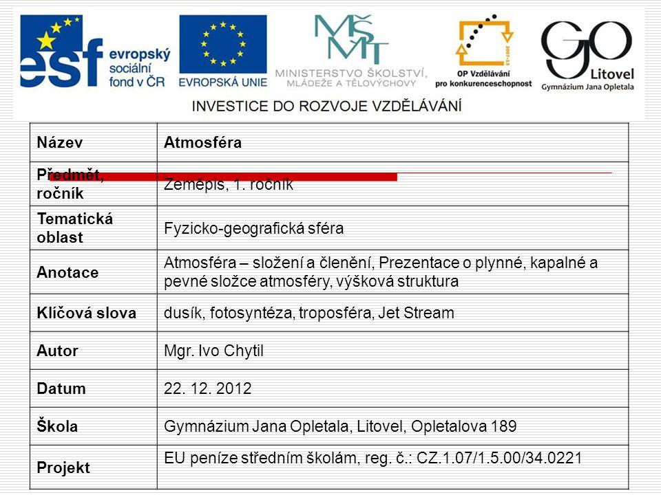 ATMOSFÉRA Složení a členění Chytil Ivo Obrázek č. 6