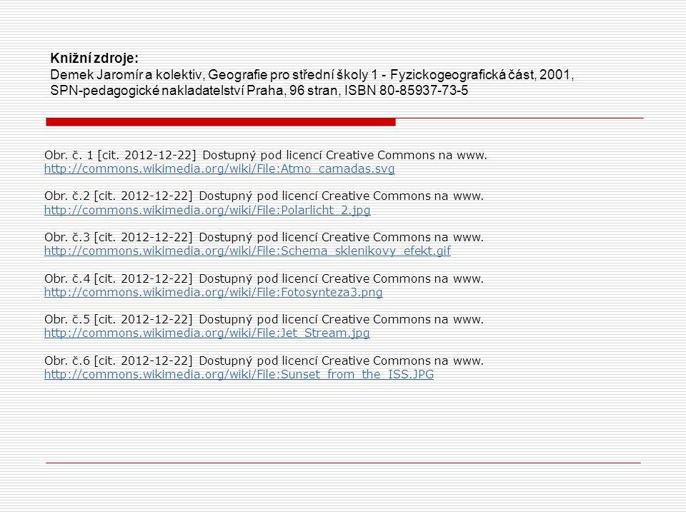 Obr. č. 1 [cit. 2012-12-22] Dostupný pod licencí Creative Commons na www. http://commons.wikimedia.org/wiki/File:Atmo_camadas.svg http://commons.wikim