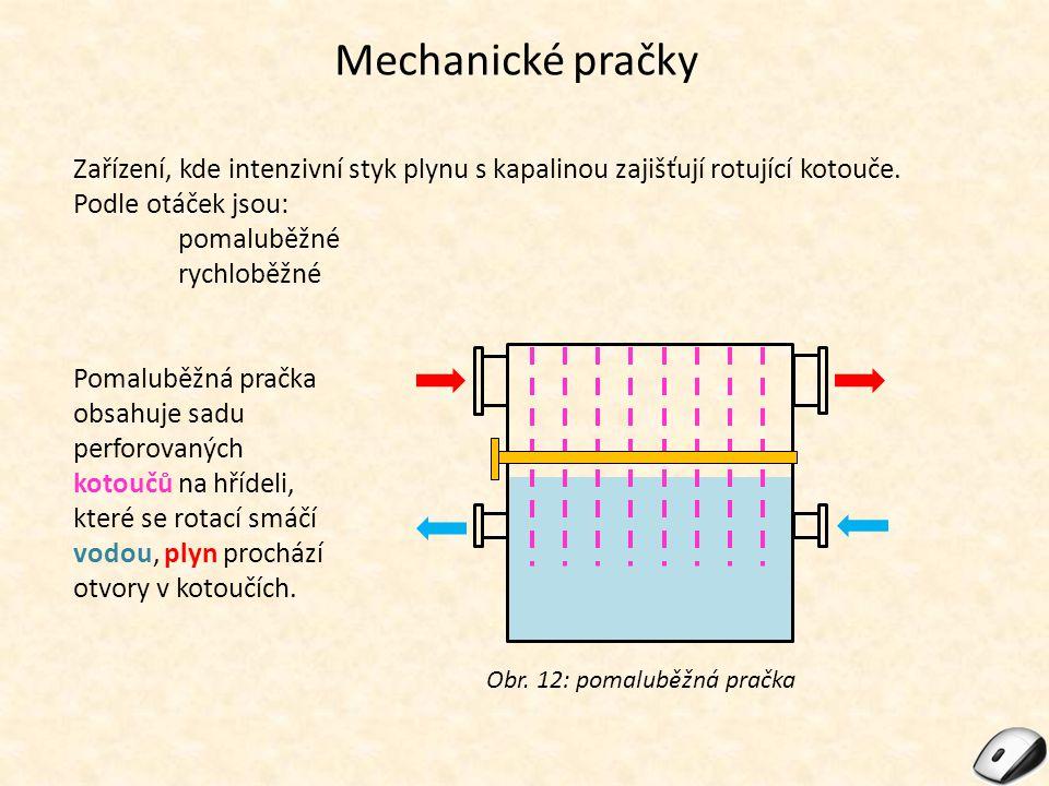 Mechanické pračky Zařízení, kde intenzivní styk plynu s kapalinou zajišťují rotující kotouče. Podle otáček jsou: pomaluběžné rychloběžné Obr. 12: poma