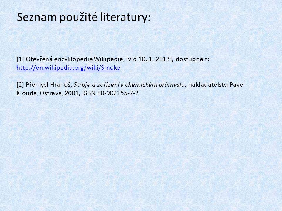 Seznam použité literatury: [1] Otevřená encyklopedie Wikipedie, [vid 10. 1. 2013], dostupné z: http://en.wikipedia.org/wiki/Smoke http://en.wikipedia.
