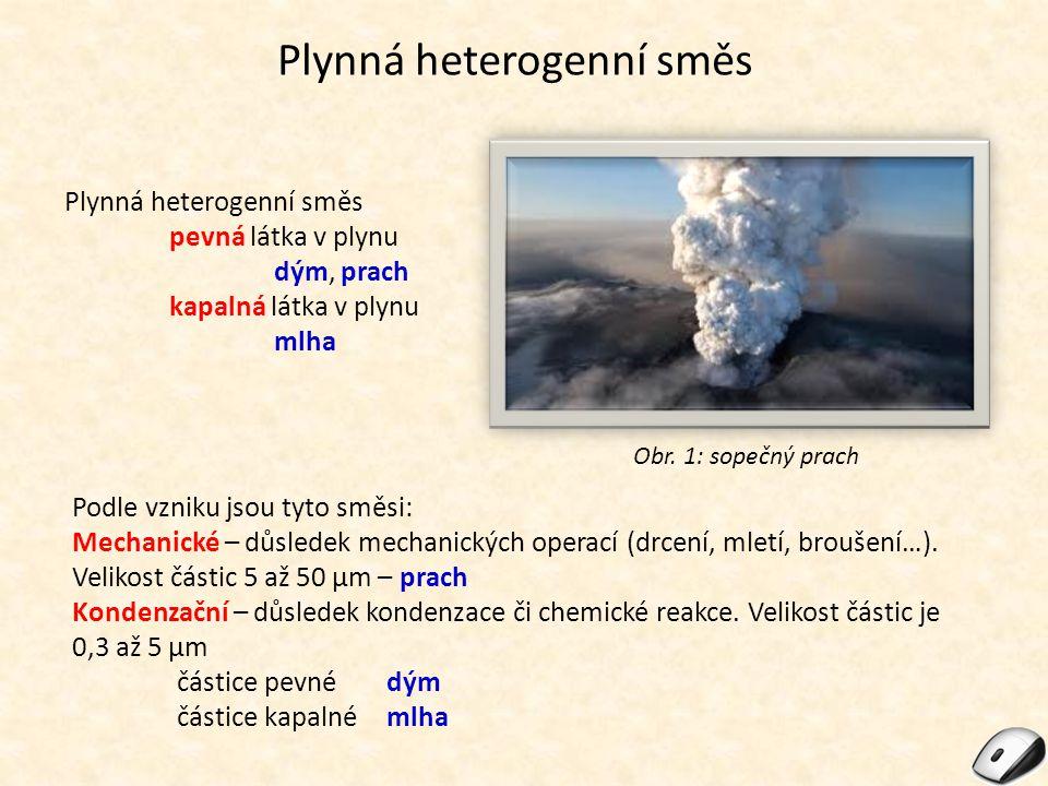 Plynná heterogenní směs pevná látka v plynu dým, prach kapalná látka v plynu mlha Obr. 1: sopečný prach Podle vzniku jsou tyto směsi: Mechanické – důs