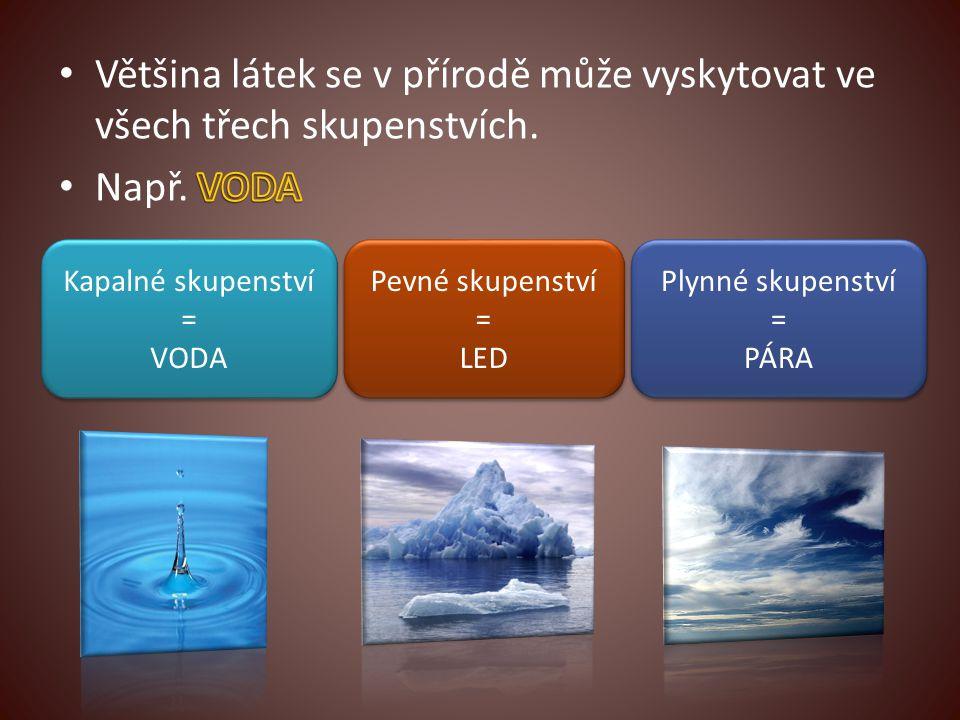Pevné skupenství = LED Kapalné skupenství = VODA Plynné skupenství = PÁRA