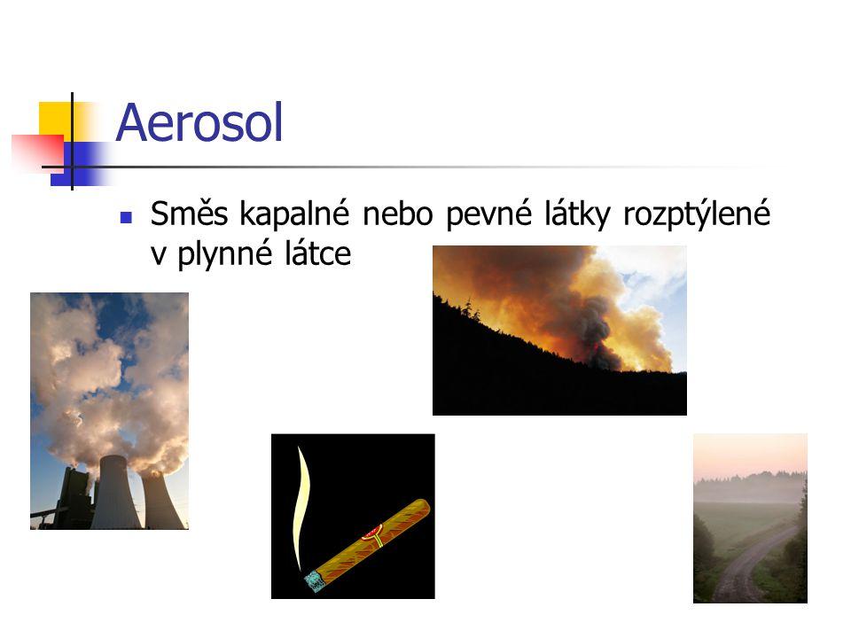 Aerosol Směs kapalné nebo pevné látky rozptýlené v plynné látce