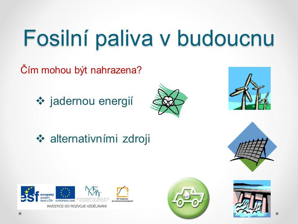 Fosilní paliva v budoucnu Čím mohou být nahrazena?  jadernou energií  alternativními zdroji vodík