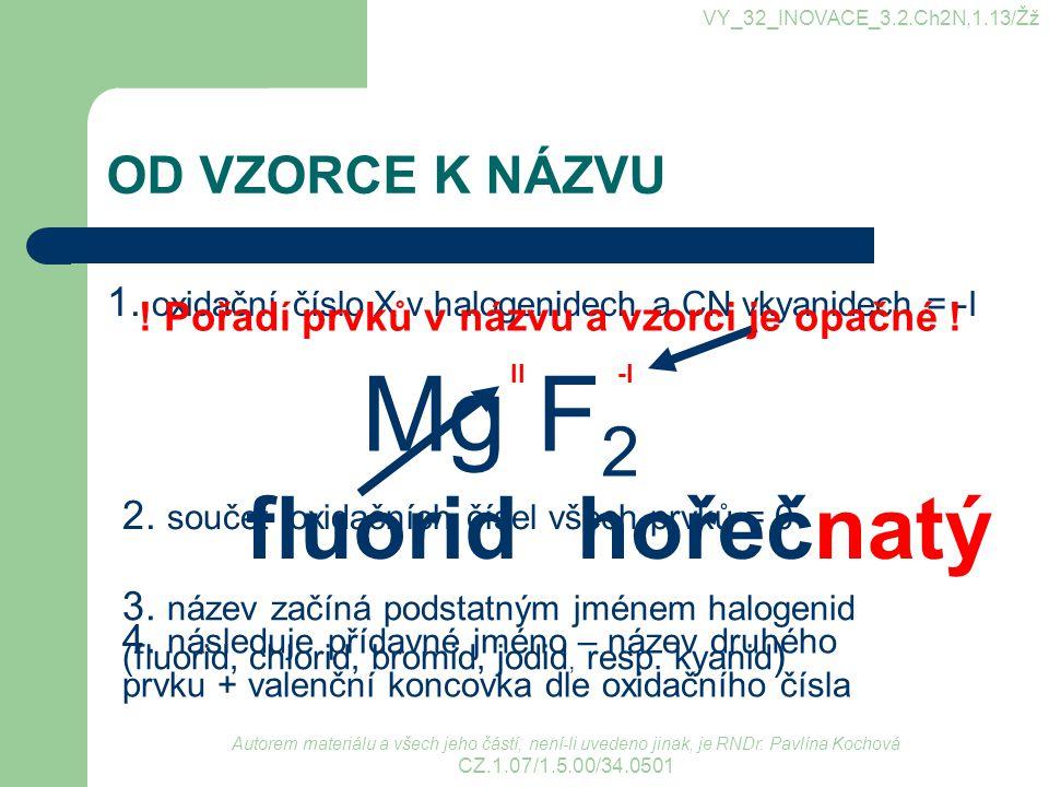 OD VZORCE K NÁZVU 1. oxidační číslo X v halogenidech a CN vkyanidech = -I VY_32_INOVACE_3.2.Ch2N,1.13/Žž Mg F 2 -I 2. součet oxidačních čísel všech pr