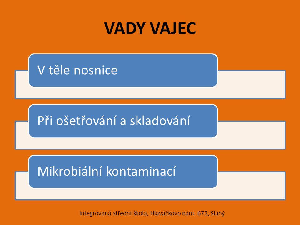 VADY VAJEC V těle nosnicePři ošetřování a skladováníMikrobiální kontaminací Integrovaná střední škola, Hlaváčkovo nám. 673, Slaný