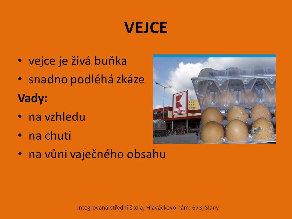 VEJCE vejce je živá buňka snadno podléhá zkáze Vady: na vzhledu na chuti na vůni vaječného obsahu Integrovaná střední škola, Hlaváčkovo nám. 673, Slan