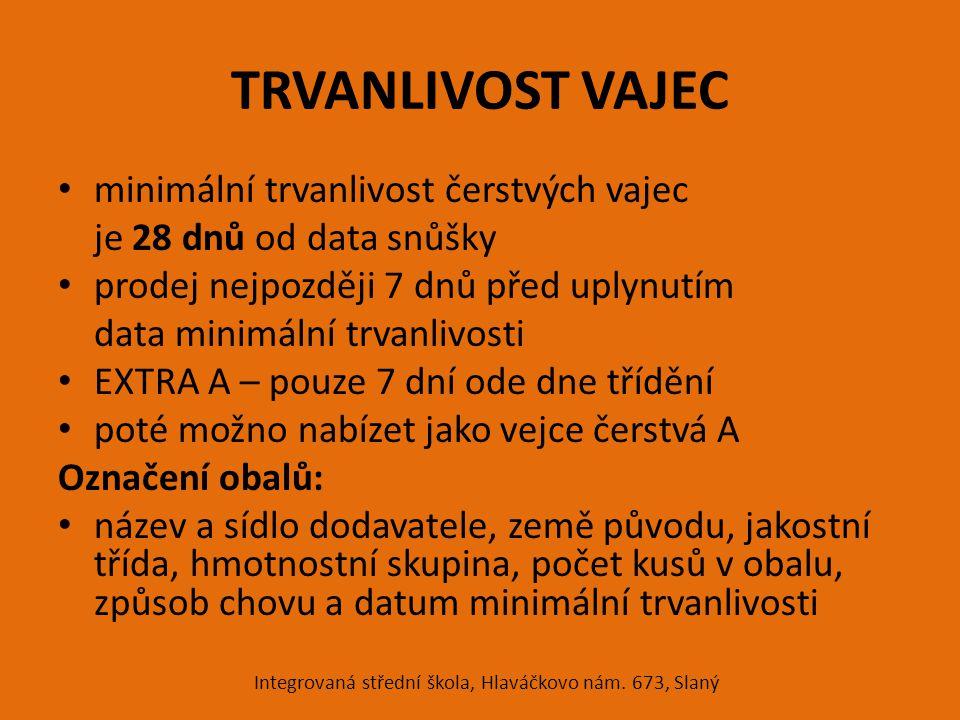 TRVANLIVOST VAJEC minimální trvanlivost čerstvých vajec je 28 dnů od data snůšky prodej nejpozději 7 dnů před uplynutím data minimální trvanlivosti EX