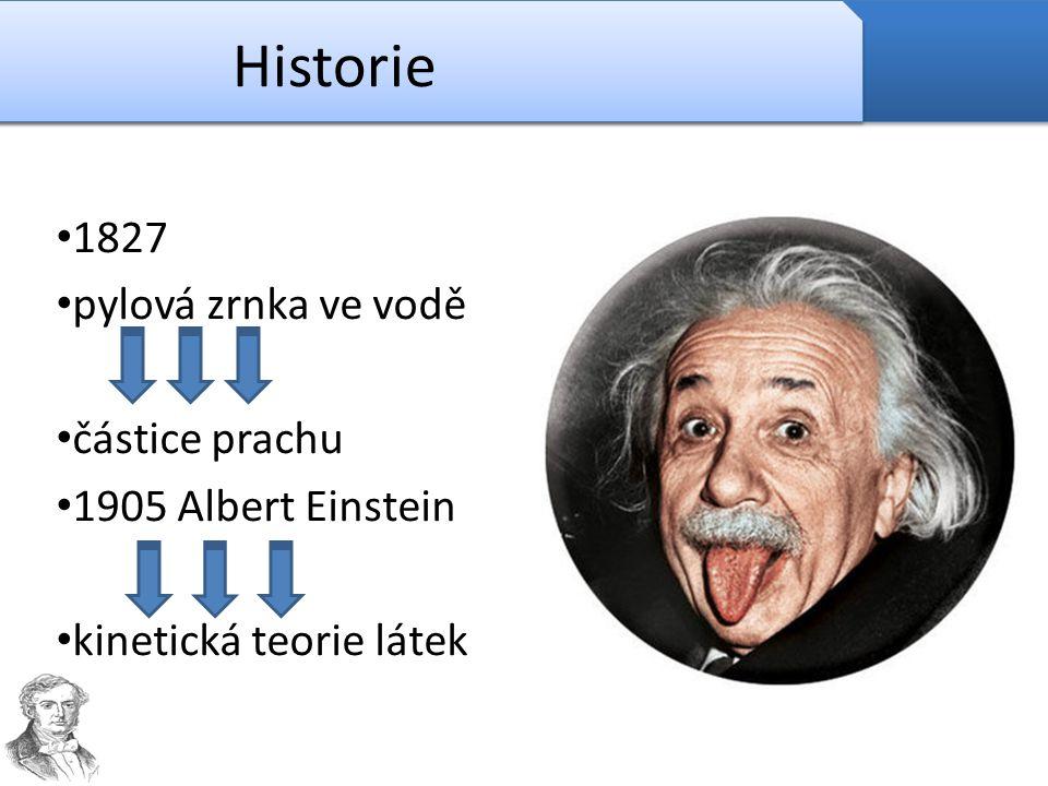 Historie 1827 pylová zrnka ve vodě částice prachu 1905 Albert Einstein kinetická teorie látek