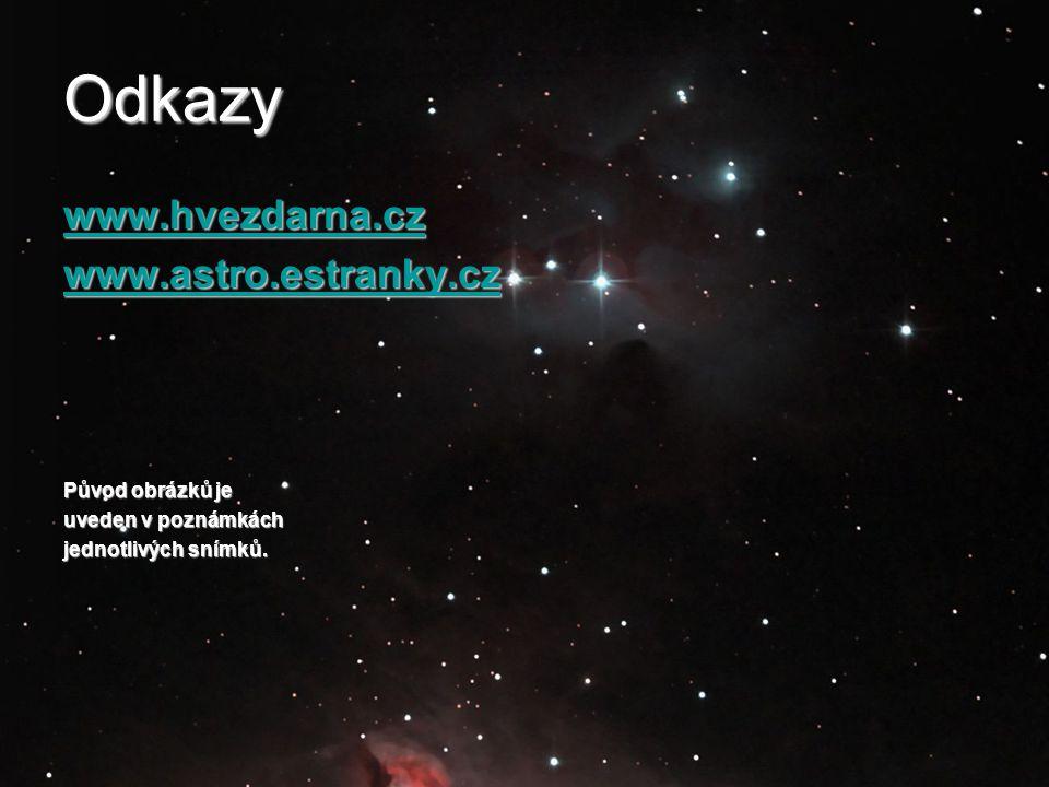 Odkazy www.hvezdarna.cz www.astro.estranky.cz Původ obrázků je uveden v poznámkách jednotlivých snímků.