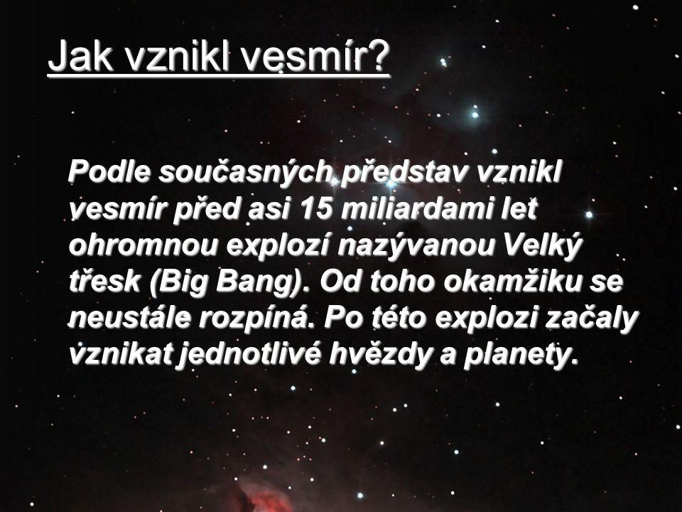 Podle současných představ vznikl vesmír před asi 15 miliardami let ohromnou explozí nazývanou Velký třesk (Big Bang). Od toho okamžiku se neustále roz