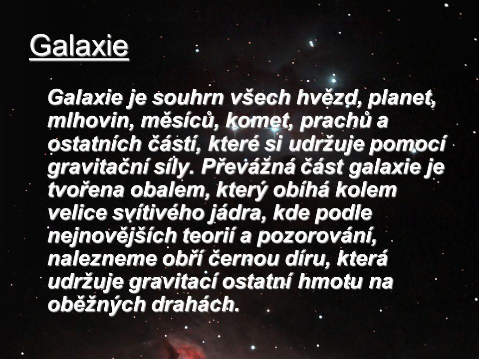 Galaxie Galaxie je souhrn všech hvězd, planet, mlhovin, měsíců, komet, prachů a ostatních částí, které si udržuje pomocí gravitační síly. Převážná čás