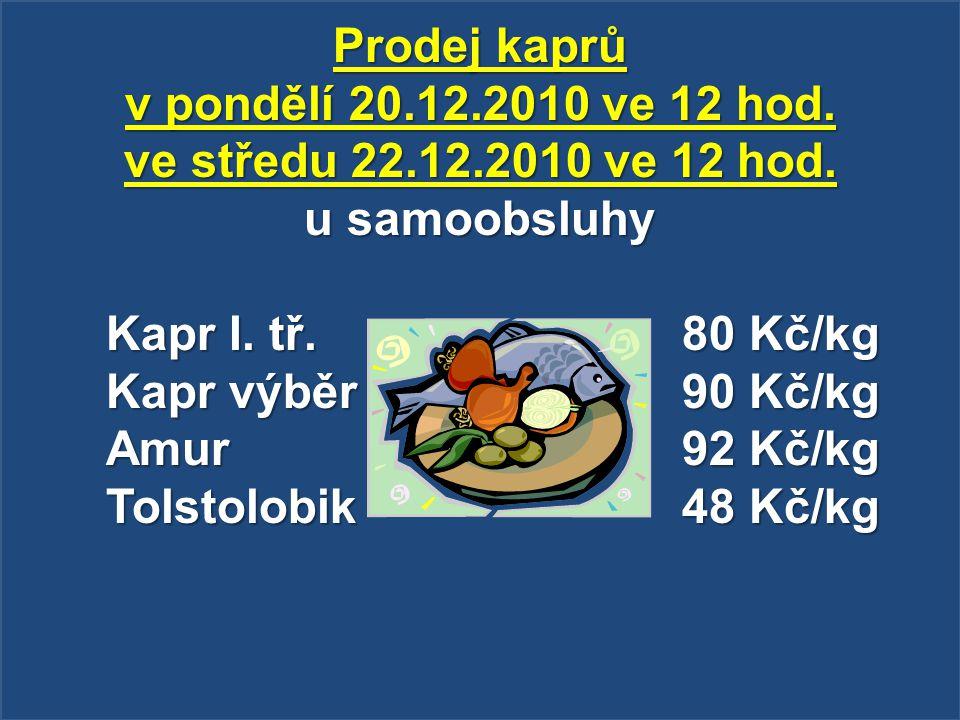 Prodej kaprů v pondělí 20.12.2010 ve 12 hod. ve středu 22.12.2010 ve 12 hod. u samoobsluhy Kapr I. tř. 80 Kč/kg Kapr výběr 90 Kč/kg Amur 92 Kč/kg Tols