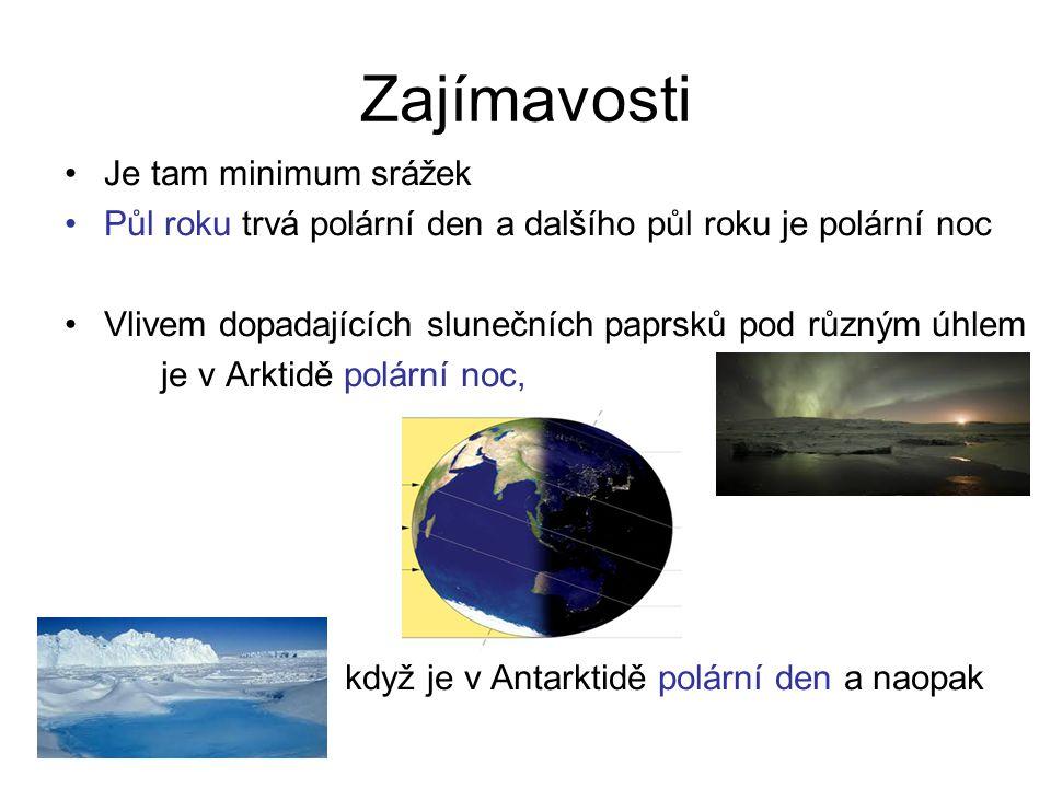 Zajímavosti Je tam minimum srážek Půl roku trvá polární den a dalšího půl roku je polární noc Vlivem dopadajících slunečních paprsků pod různým úhlem je v Arktidě polární noc, když je v Antarktidě polární den a naopak