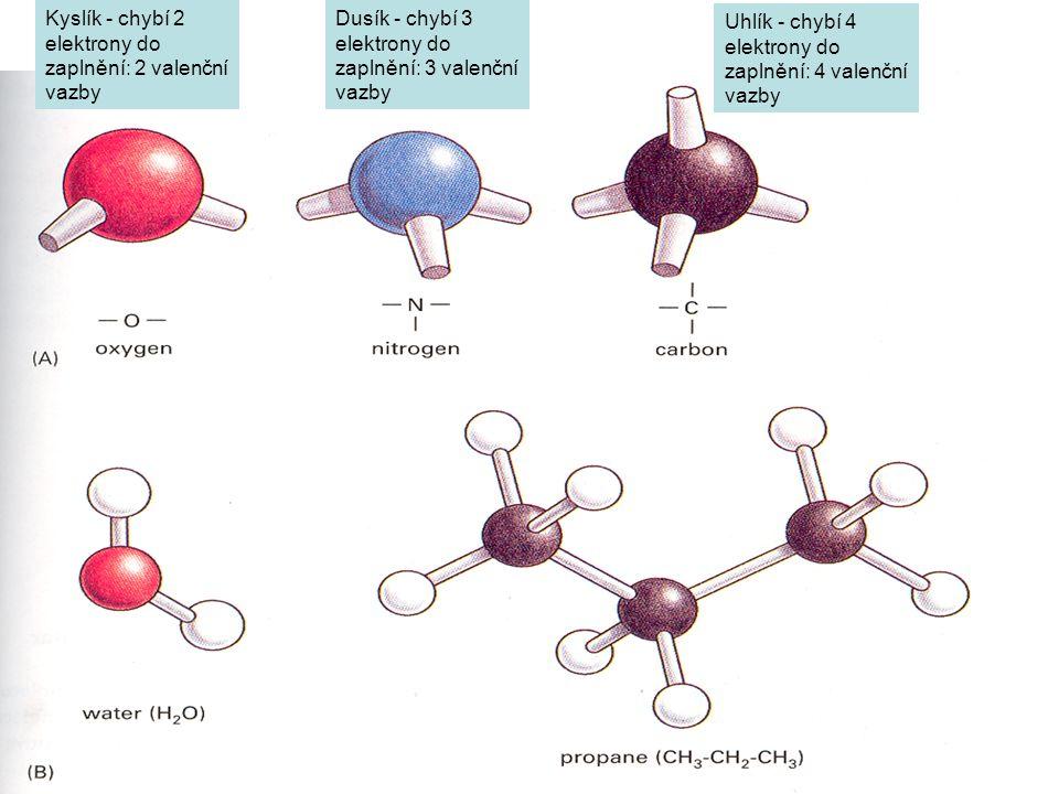 Uhlík - chybí 4 elektrony do zaplnění: 4 valenční vazby Dusík - chybí 3 elektrony do zaplnění: 3 valenční vazby Kyslík - chybí 2 elektrony do zaplnění: 2 valenční vazby