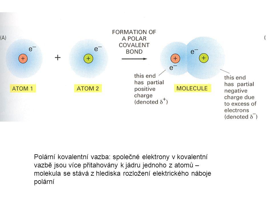 Polární kovalentní vazba: společné elektrony v kovalentní vazbě jsou více přitahovány k jádru jednoho z atomů – molekula se stává z hlediska rozložení elektrického náboje polární