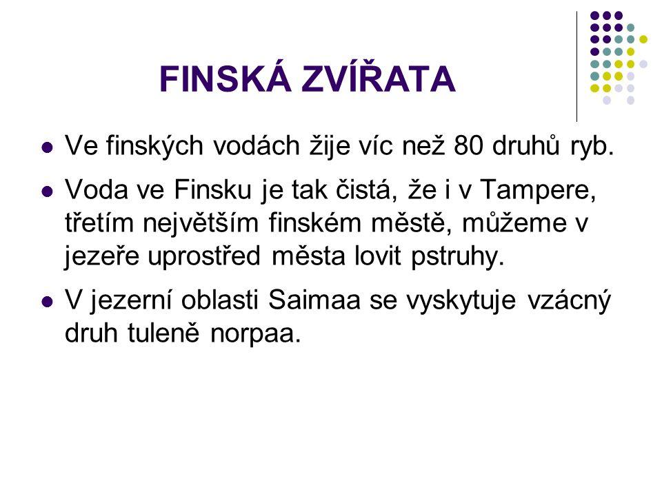 FINSKÁ ZVÍŘATA Ve finských vodách žije víc než 80 druhů ryb. Voda ve Finsku je tak čistá, že i v Tampere, třetím největším finském městě, můžeme v jez