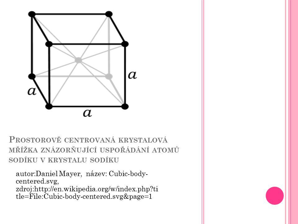 P ROSTOROVĚ CENTROVANÁ KRYSTALOVÁ MŘÍŽKA ZNÁZORŇUJÍCÍ USPOŘÁDÁNÍ ATOMŮ SODÍKU V KRYSTALU SODÍKU autor:Daniel Mayer, název: Cubic-body- centered.svg, z